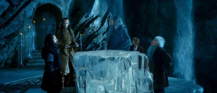 "(L-r) RICHARD ARMITAGE as Thorin Oakenshield, HUGO WEAVING as Elrond, IAN McKELLEN as Gandalf, MARTIN FREEMAN as Bilbo Baggins and KEN STOTT as Balin in New Line Cinema's and MGM's fantasy adventure ""THE HOBBIT: AN UNEXPECTED JOURNEY,"" a Warner Bros. Pictures release. ((C) 2012 WARNER BROS. ENTERTAINMENT INC. AND METRO-GOLDWYN-MAYER PICTURES INC.)"