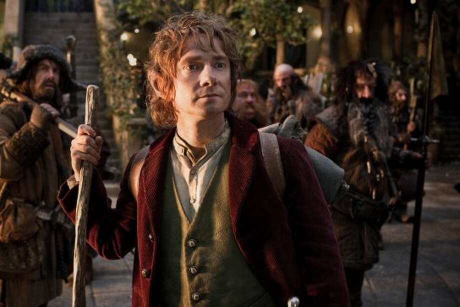 "(L-r) JAMES NESBITT as Bofur, MARTIN FREEMAN (front) as Bilbo Baggins, STEPHEN HUNTER as Bombur, GRAHAM McTAVISH as Dwalin, WILLIAM KIRCHER as Bifur, and JED BROPHY as Nori in New Line Cinema's and MGM's fantasy adventure ""THE HOBBIT: AN UNEXPECTED JOURNEY,"" a Warner Bros. Pictures release. ((c) 2012 Warner Bros. Entertainment Inc. and Metro-Goldwyn-Mayer Pictures Inc.)"