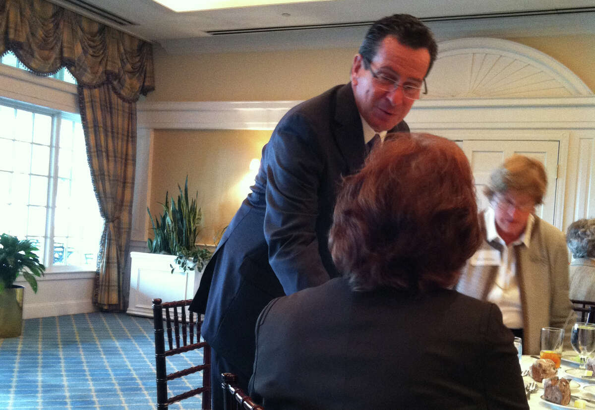 Gov. Dannel Malloy greets members of the Darien League of Women Voter's at their fall luncheon on Sept. 18. Sept. 18, 2012