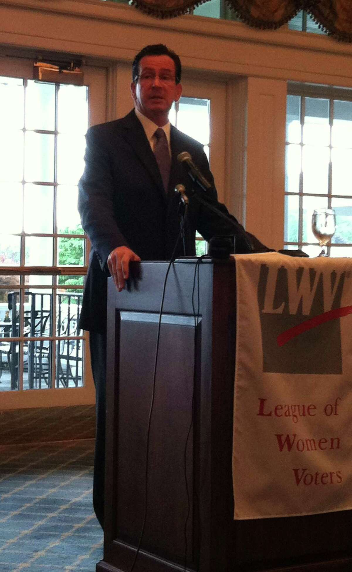 Gov. Dannel Malloy gives a speech about the importance of voting to the Darien League of Women Voters at their fall luncheon on Sept. 18. Sept. 18, 2012.