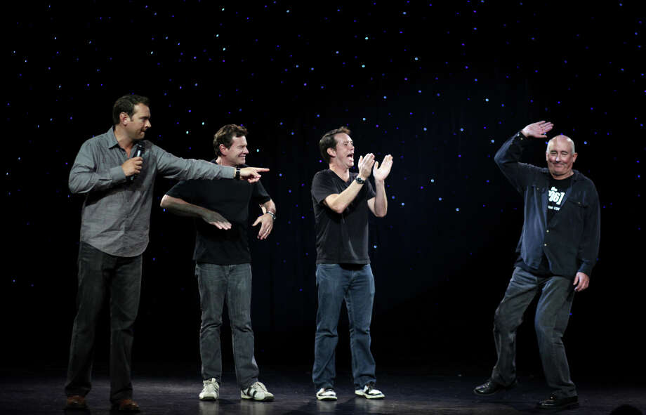 From left, Chris Cashman,Pat Cashman, Brooks McBeth and John Keister take the stage during the Night of The (206) on Tuesday, September 18, 2012 at The Triple Door in Seattle. The comedy show was a coming out of sorts for The (206), a show made up of some of the original cast and crew of the local hit show Almost Live. The crew has been spotted around Seattle filming pilots for the new show. Photo: JOSHUA TRUJILLO / SEATTLEPI.COM