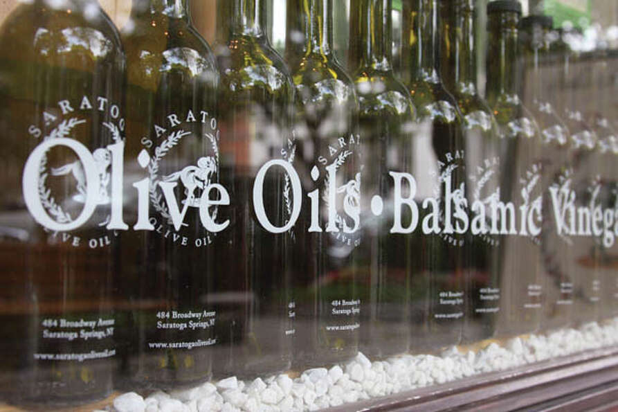 Family-run Saratoga Olive Oil encourages customers to taste their many varieties, which co-owner Bar