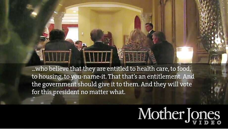 "Mitt Romney  Statement  In comments during a fundraiser that were secretly recorded, the GOP presidential nominee said the 47 percent of Americans who ""don't pay taxes"" won't vote for him, as they ""are dependent upon the government, who believe they are victims, who believe the government has a responsibility to care for them, who believe that they are entitled to health care, to food, to housing, to you name it."" Photo: Associated Press"