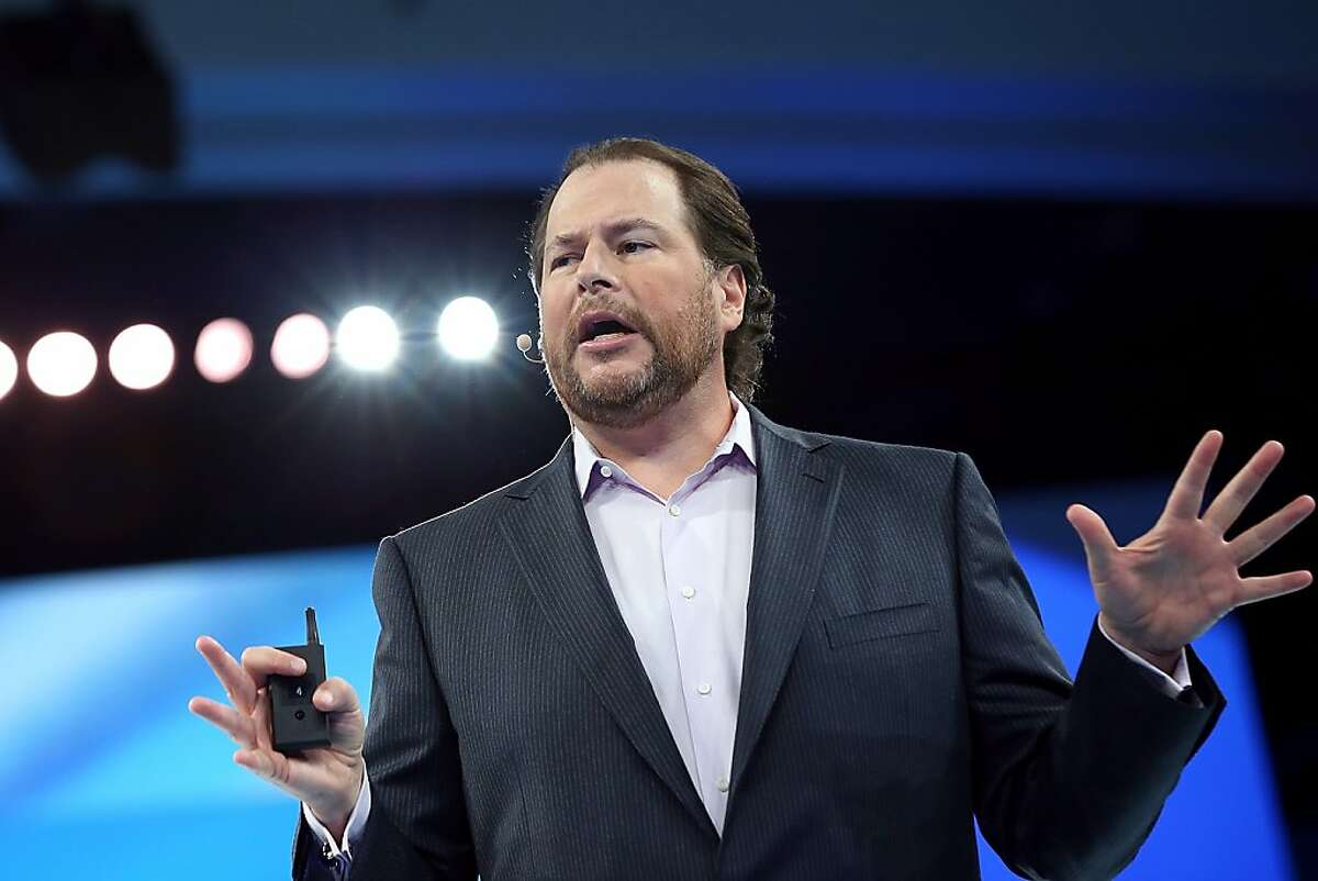 SAN FRANCISCO, CA - SEPTEMBER 19: Salesforce CEO Marc Benioff delivers the keynote address during the Dreamforce 2012 conference at the Moscone Center on September 19, 2012 in San Francisco, California. A reported 90,000 people registered to attend the cloud computing industry conference Dreamforce 2012 that runs through September 21. (Photo by Justin Sullivan/Getty Images)