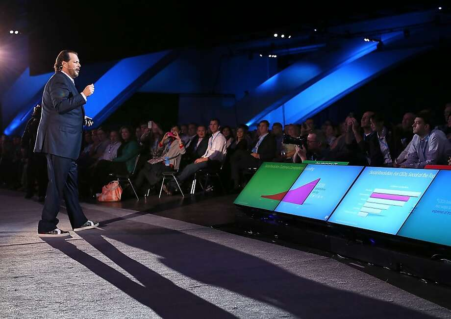 Salesforce CEO Marc Benioff's marketing-tool push may pay off. Photo: Justin Sullivan, Getty Images