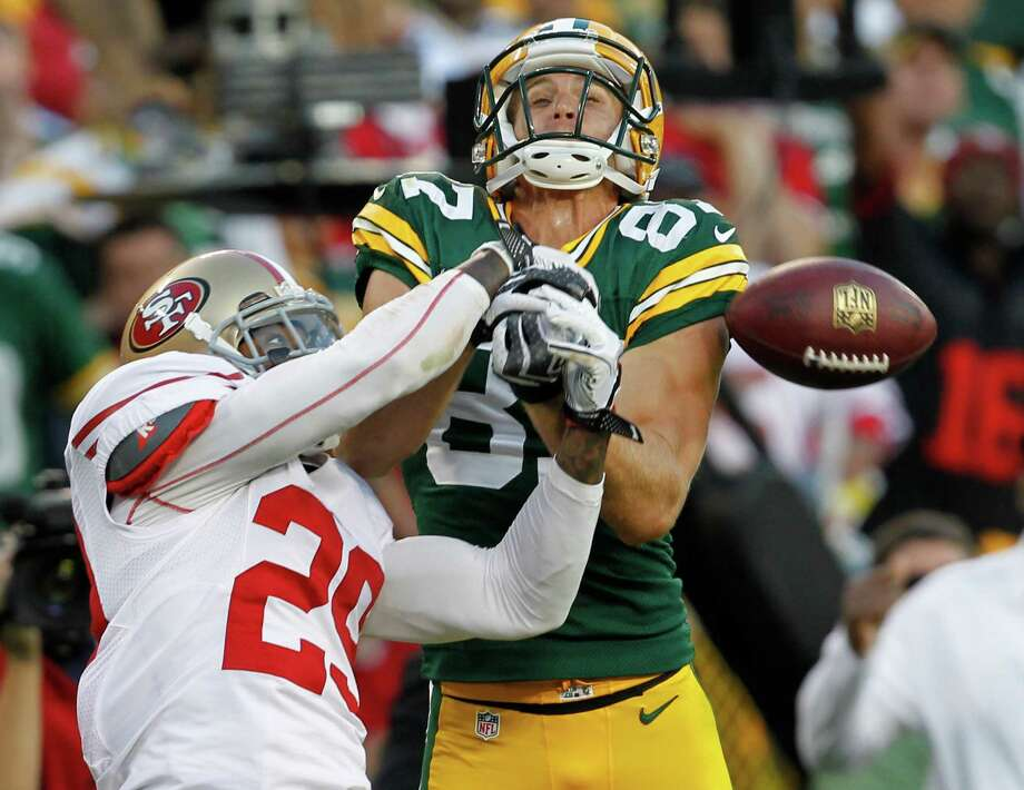 San Francisco 49ers' Chris Culliver (29) breaks up a pass intended for Green Bay Packers' Jordy Nelson during the second half of an NFL football game Sunday, Sept. 9, 2012, in Green Bay, Wis. The 49ers won 30-22. Photo: Mike Roemer, Associated Press / FR155603 AP