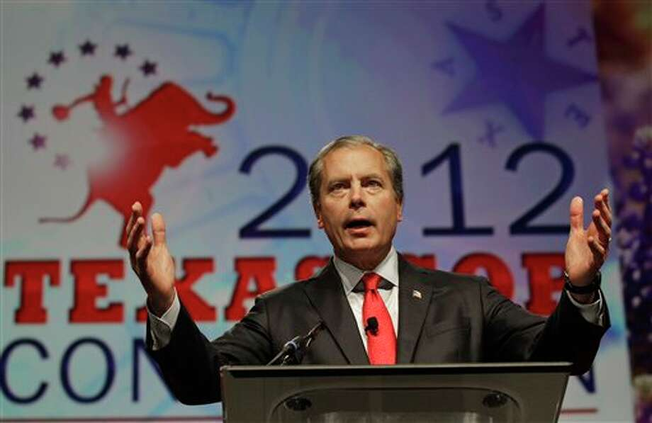 Texas Lt. Gov. David Dewhurst and candidate for U.S. Senate speaks during the Texas Republican Convention in Fort Worth, Texas, Friday, June 8, 2012.  (AP Photo/LM Otero) Photo: LM Otero, AP / AP