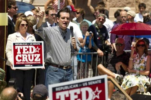 Ted Cruz campaigns with the Tea Party Express. (Associated Press)