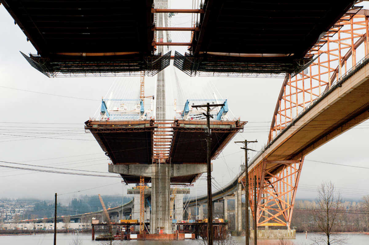 But first, check out a couple more shots of the new Port Mann Bridge during construction last winter. It has 10 lanes, twice as many as the old bridge, plus a 16-foot multi-use path and a 33-foot gap/median.