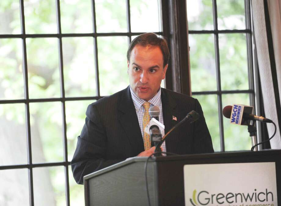 First Selectman Peter Tesei speaks at the Greenwich Chamber of Commerce's hosted its annual State of the Town Luncheon at the Milbrook Club in Greenwich Wednesday, Sept. 19, 2012. Photo: Helen Neafsey / Greenwich Time