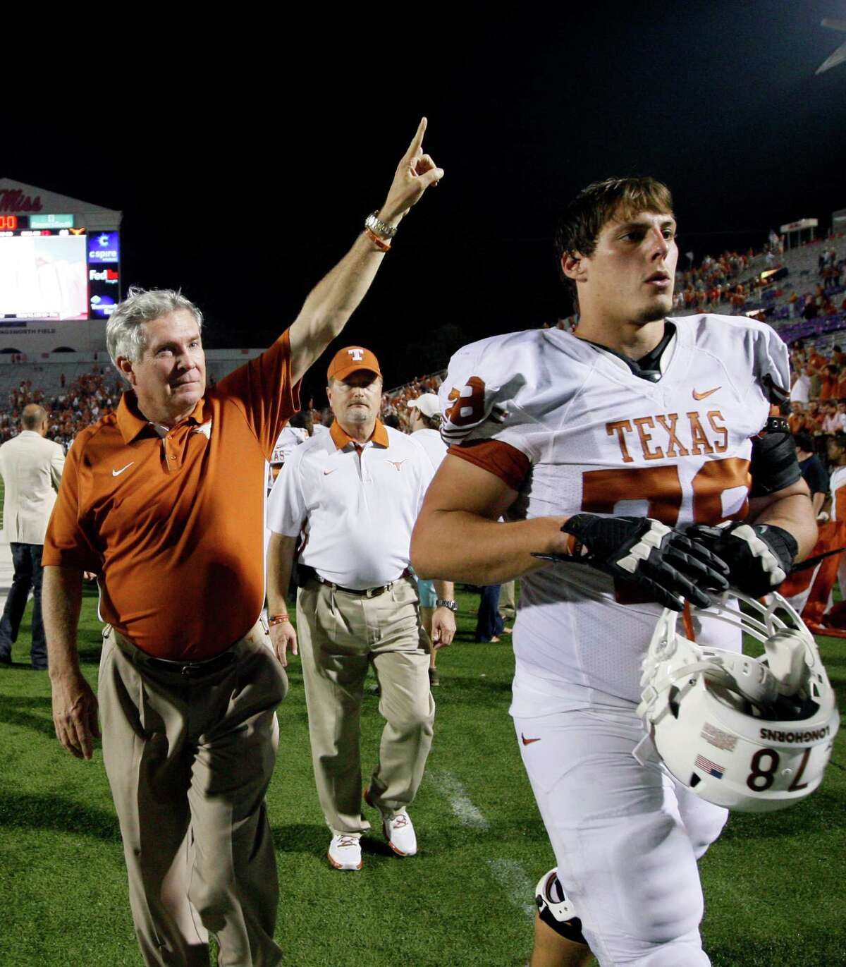 Coach Mack Brown (left), offensive tackle Josh Cochran (right) and the rest of the Longhorns are 3-0. But they started last season the same way before stumbling to a 4-5 mark in Big 12 play.