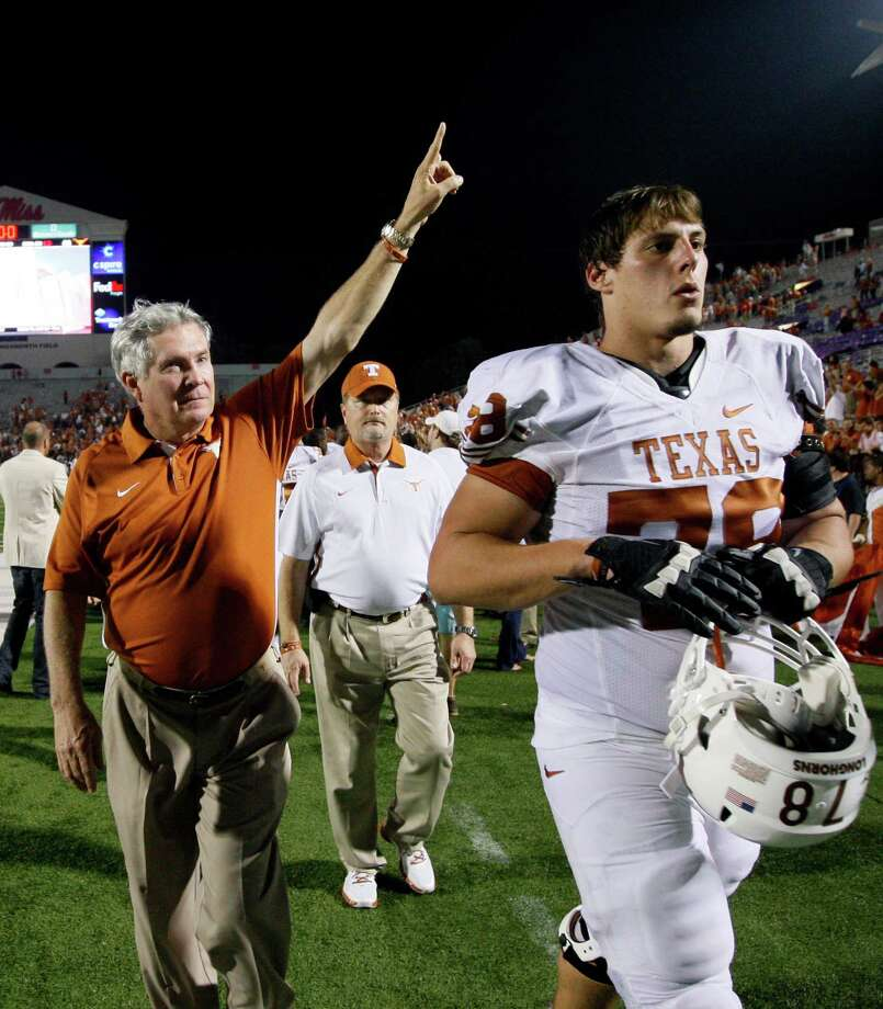 Coach Mack Brown (left), offensive tackle Josh Cochran (right) and the rest of the Longhorns are 3-0. But they started last season the same way before stumbling to a 4-5 mark in Big 12 play. Photo: Rogelio V. Solis, Associated Press / AP