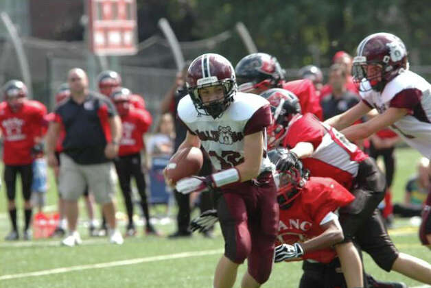 Quarterback Kevin Iobbi for the North Mianus Bulldogs in their win over BANC. Photo: Contributed Photo