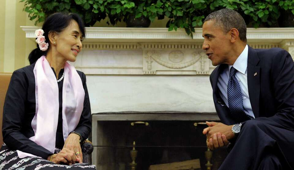 President Barack Obama meets with Myanmar democracy leader Aung San Suu Kyi in the Oval Office of th