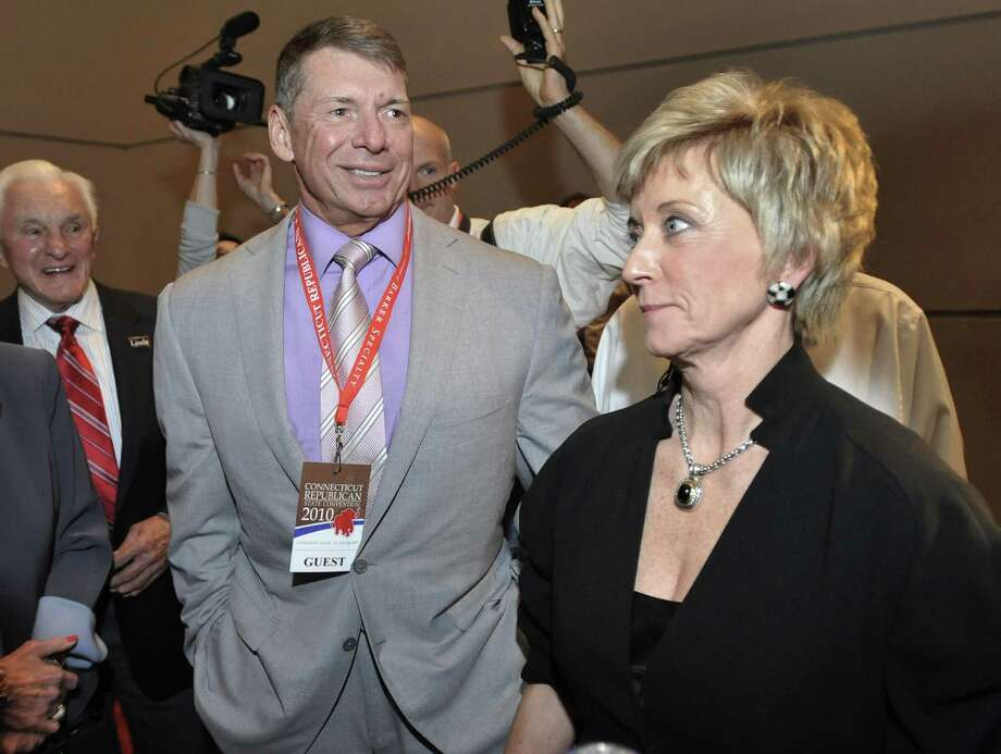 Republican candidate for U.S. Senate Linda McMahon, right, and husband Vince McMahon, left, in this file photo from 2010. (AP Photo/Jessica Hill) Photo: Jessica Hill, AP / FR125654 AP
