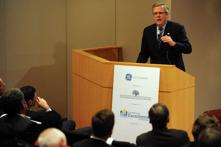 Former Florida Governor Jeb Bush speaks about education reform at GE headquarters, in Fairfield, Conn. Sept. 19th, 2012. Photo: Ned Gerard / Connecticut Post