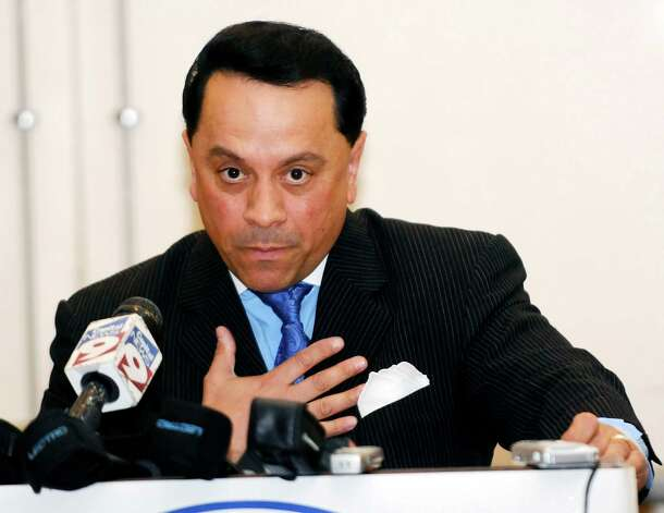 FILE - In this June 20, 2009 file photo, New York state Sen. Pedro Espada, Jr., D-Bronx, speaks to members of the New York State Chapter of The League of United Latino American Citizens during their annual convention in Albany, N.Y. Authorities claimed in court papers filed Wednesday, Sept. 19, 2012, that Espada is still looting the same bank account of a Bronx health care network that we was convicted of stealing from earlier this year. (AP Photo/Hans Pennink, File) Photo: Hans Pennink
