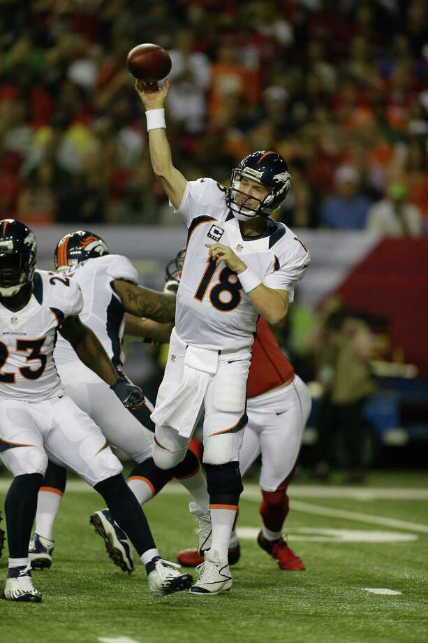 Peyton Manning's arm strength is being questioned after his shaky performance Monday in Atlanta. Photo: David Goldman / AP