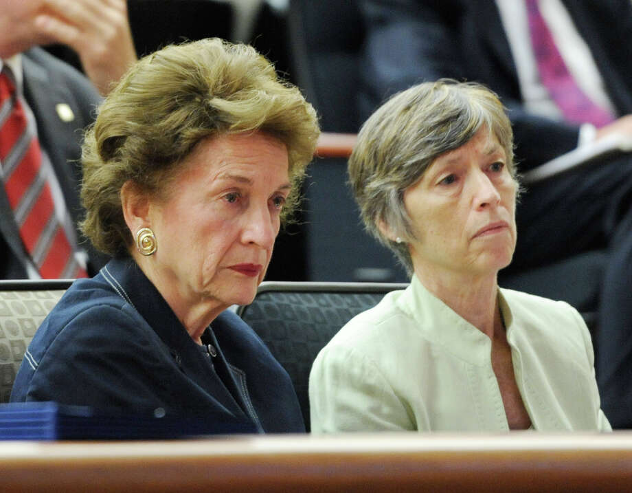 After years of trying to get pay raises for judges in New York state Judith Kaye former Chief Judge of the Court of Appeals sits with Ann Pfau, Chief Administrative Judge for NYS after speaking at a hearing by the NYS Special Commission on Judicial Compensation about judges pay raises in Albany, N.Y. July 20, 2011.      (Skip Dickstein/ Times Union) Photo: Skip Dickstein