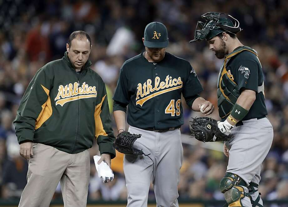 Brett Anderson (center), who strained his right oblique Sept. 19, has the best ERA - 2.57 - among Oakland's starters. Photo: Paul Sancya, Associated Press