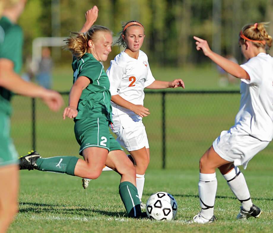 Shenendehowa's Kristin Connors, left, kicks the ball during a soccer game against Bethlehem Wednesday, Sept. 19, 2012 in Delmar, N.Y. (Lori Van Buren / Times Union) Photo: Lori Van Buren