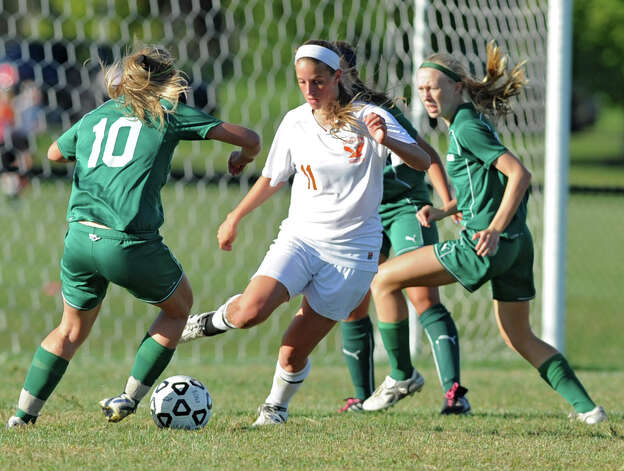 Bethlehem's Tara Teal is surrounded by the defense as she dribbles the ball during a soccer game against Shenendehowa Wednesday, Sept. 19, 2012 in Delmar, N.Y. (Lori Van Buren / Times Union) Photo: Lori Van Buren