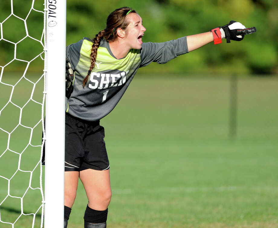 Shenendehowa goal keeper Makala Foley yells to get a teammate in position during a soccer game against Bethlehem Wednesday, Sept. 19, 2012 in Delmar, N.Y. (Lori Van Buren / Times Union) Photo: Lori Van Buren