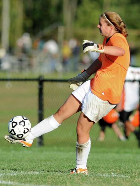 Bethlehem goal keeper Katie Nickles kicks the ball down the field during a soccer game against Shene