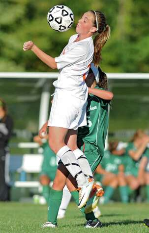 Bethlehem's Autumn Fetterolf tries to tame the ball during a soccer game against Shenendehowa Wednesday, Sept. 19, 2012 in Delmar, N.Y. (Lori Van Buren / Times Union) Photo: Lori Van Buren