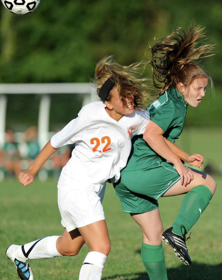 From left, Bethlehem's Stephanie Dootz and Shenendehowa's Meghan Cavanaugh battle for the ball during a soccer game Wednesday, Sept. 19, 2012 in Delmar, N.Y. (Lori Van Buren / Times Union) Photo: Lori Van Buren