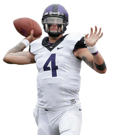 TCU quarterback Casey Pachall (4) throws during the first half of an NCAA college football game against Kansas Saturday, Sept. 15, 2012, in Lawrence, Kan. (AP Photo/Charlie Riedel) Photo: Charlie Riedel, Associated Press / AP