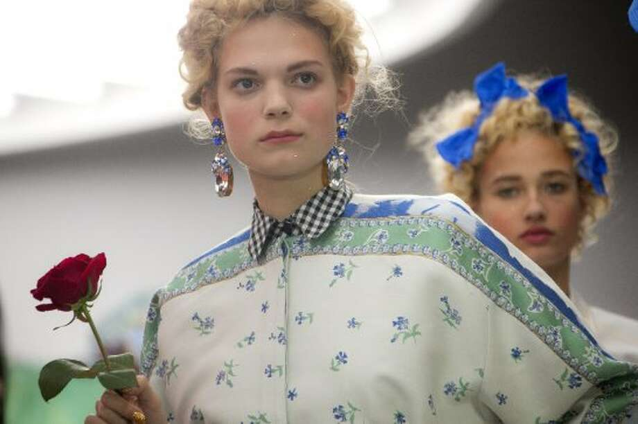Models wear designs from the  Meadham Kirchoff collection. (AP)