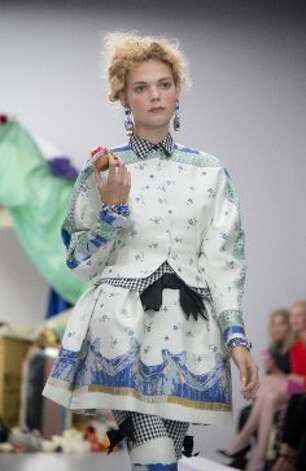 A model wears a design from the  Meadham Kirchoff collection. (ASSOCIATED PRESS)