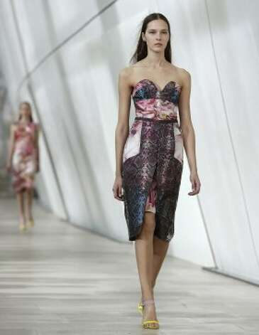 A model wears a creation by Preen. (ASSOCIATED PRESS)