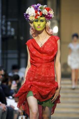 A model wears a design from the Vivienne Westwood Red Label collection. (ASSOCIATED PRESS)