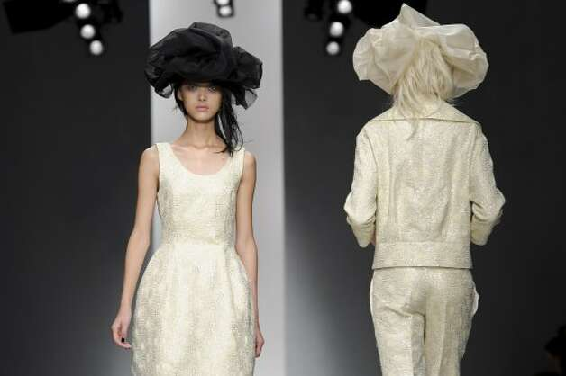 A model wears a design from the John Rocha collection. (ASSOCIATED PRESS)