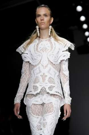 A model wears a design from the KTZ collection. (ASSOCIATED PRESS)