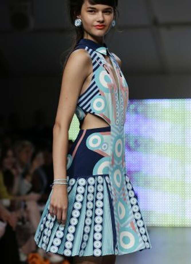 A model presents a creation by Holly Fulton. (ASSOCIATED PRESS)