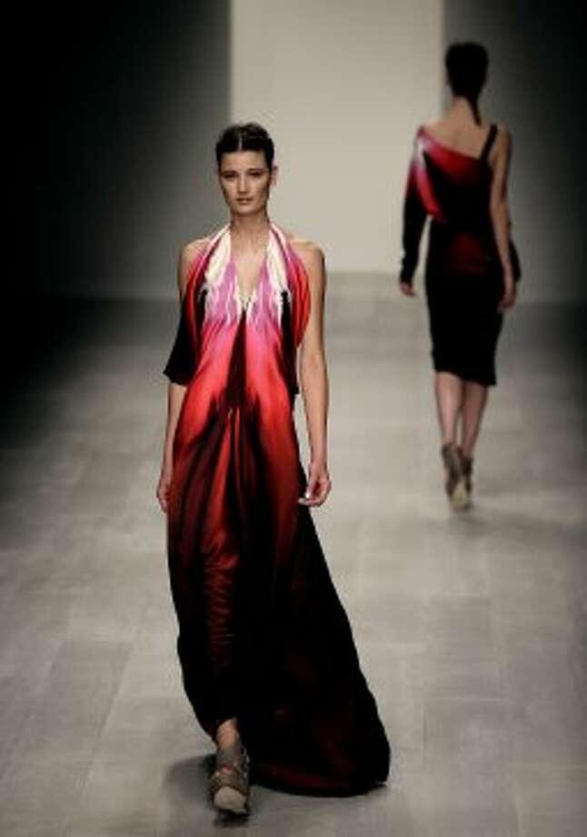 A model presents a design by Maria Grachvogel. (AP)
