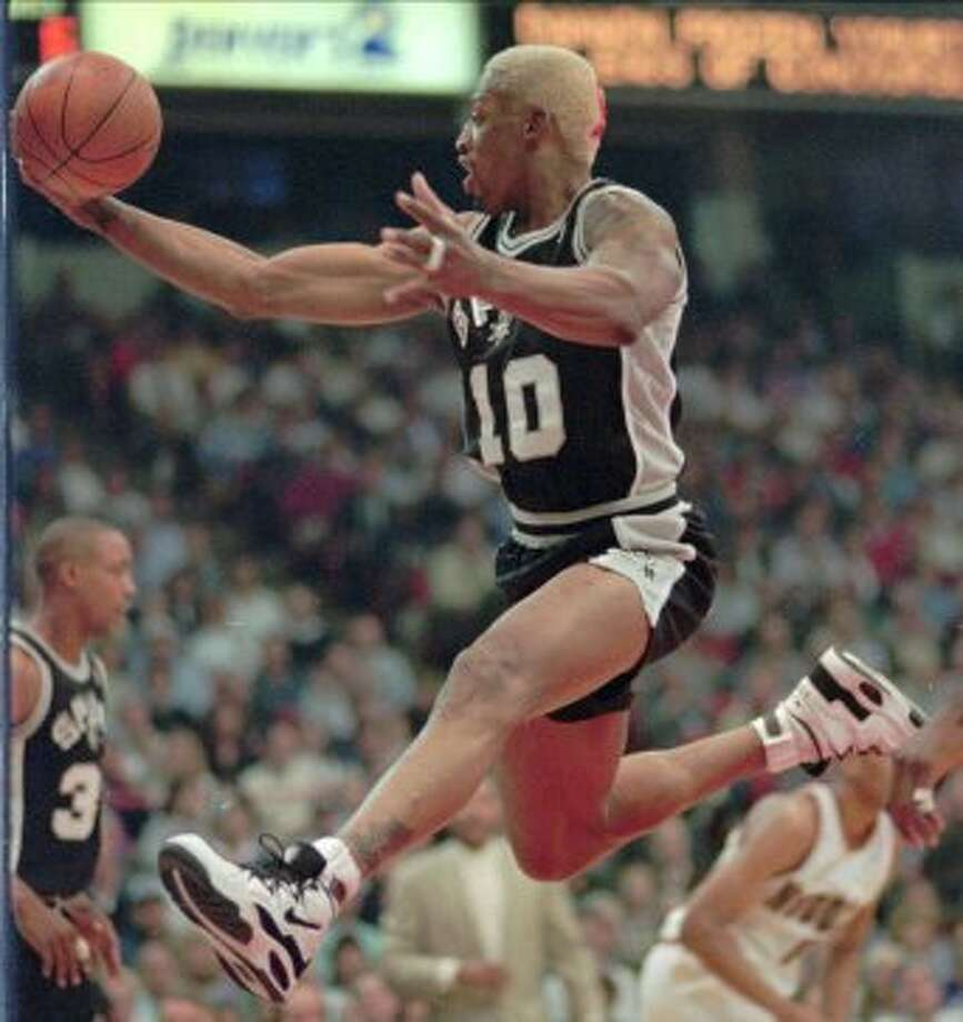 Dennis RodmanAcquired Oct. 1, 199332 years old at start of season8-year veteran (NBA career began in 1986 with Detroit)With Spurs: 1993-95Last season: 1999-2000Career highs: 11.6 pts, 1987-88, Detroit, and 18.7 reb, 1990-91, Detroit.Best with Spurs: 7.1 pts, 1994-95, and 17.3 reb, 1993-94.Best after Spurs: 5.7 pts, 1996-97, Chicago, and 16.1 reb, 1996-97, Chicago. (DAVID ZALUBOWSKI / AP)