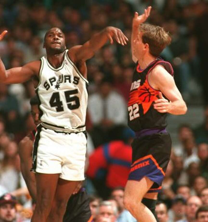 Chuck PersonAcquired July 21, 199430 years old at start of season8-year veteran (NBA career began in 1986 with Indiana)With Spurs: 1994-98Last season: 1999-2000Career highs: 21.6 pts, 1988-89, Indiana, and 41.0 3-pt pct, 1995-96, Spurs.Best with Spurs: 10.9 pts, 1994-95, and 41.0 3-pt pct, 1995-96.Best after Spurs: 6.1 pts, 1998-99, Charlotte, and 35.0 3-pt pct, 1998-99, Charlotte. (JOHN DAVENPORT / TXSAE)