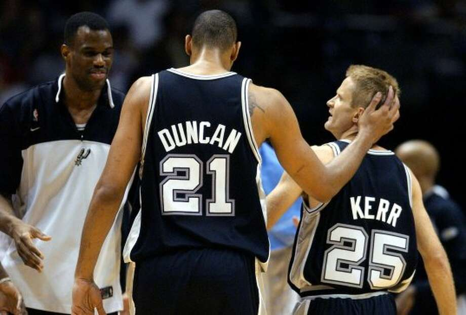 Steve KerrAcquired Jan. 21, 1999 and Aug. 5, 200233 and 37 years old at start of each season10-year veteran first time, 14 second (NBA career began in 1988 with Phoenix)With Spurs 1999 shortened season, 1999-2001 and 2002-03Last season: 2002-03Career highs: 8.6 pts, 1993-94, Chicago, and 52.43-pt pct, 1994-95, Chicago.Best with Spurs: 4.4 pts, 1999, and 3-pt pct 51.6, 1999-2000.Best between Spurs stints: 4.1 pts and 39.4 3-pt pct, 2001-02, Portland. (JERRY LARA / SAN ANTONIO EXPRESS-NEWS)