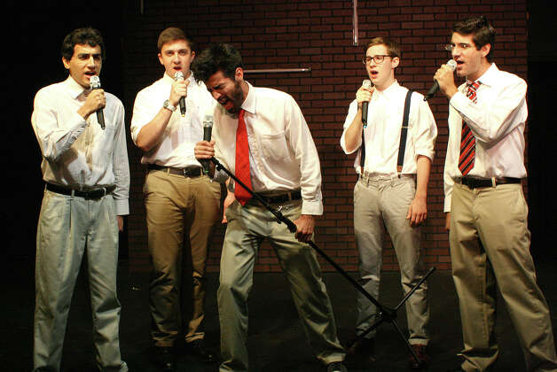 "Left to right in ""Spring Awakening"" are Marcelo Calderon, Jacob Eventoff, Chris Cenatiempo, Trevor Carr and Jeff Shuldman. The show is on stage at Ridgefield Theater Barn through Oct. 6. Photo: Contributed Photo"