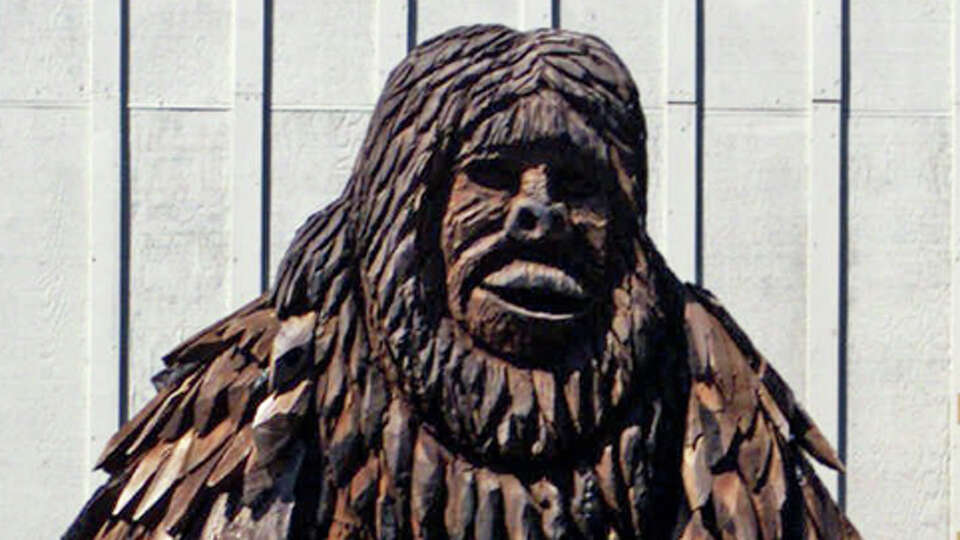 A two-story high statue of Bigfoot stands outside the 'Bigfoot Wing' of the Willow Creek-China Flat