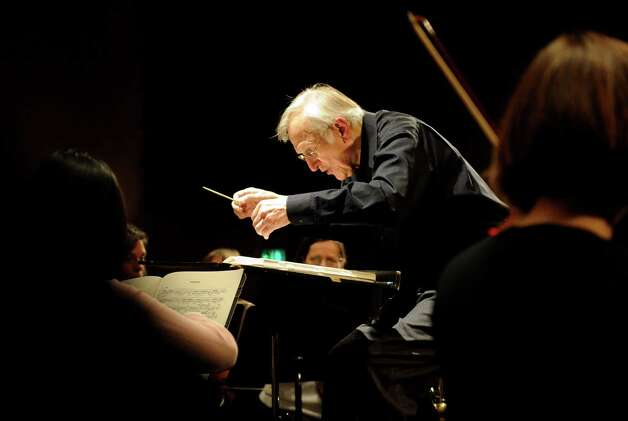 After more than 40 years as conductor of the Greater Bridgeport Symphony, Gustav Meier, seen here during a rehearsal in 2011, is retiring. Photo: Lindsay Niegelberg, ST / Connecticut Post