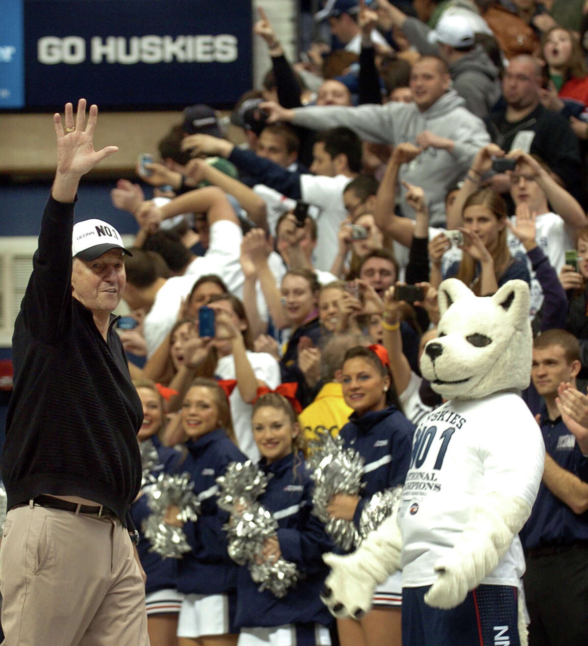 UCONN Men's Basketball Head Coach Jim Calhoun waves to fans during a rally held for the men's basketball team at Gampel Pavilion in Storrs, Conn. on Tuesday April 5, 2011.