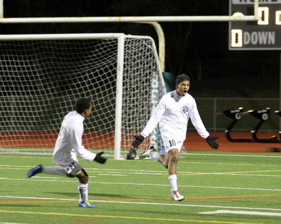 Norwalk forward Nic Zuniga celebrates his goal alongside teammate Mike Broncati, left, during a 2-1 loss to New Canaan in the FCIAC boys soccer quarterfinal round last season. Photo by Sharon Cadden. Photo: Contributed Photo