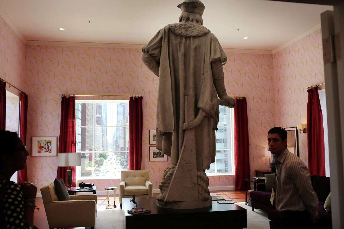 NEW YORK, NY - SEPTEMBER 19: The back of the iconic 13-foot statue of Christopher Columbus is viewed from the 810-square-foot