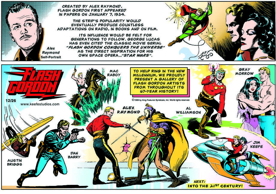 "Artist Jim Keefe, who was the writer and artist of the ""Flash Gordon"" comic strip for King Features Syndicate from 1996 to 2003, created this image celebrating the many artists who over the years have brought this space adventurer to life. It is one of the pieces that will be featured in the exhibition, ""Flash Gordon and The Heroes of the Universe,"" which will run at the Stamford Museum and Nature Center in Stamford, Conn., Saturday, Sept. 22, to Sunday, Nov. 4, 2012. For more information, call 203-322-1646, or visit www.stamfordmuseum.org. © 2012 King Features Syndicate, Inc. Photo: Contributed Photo"