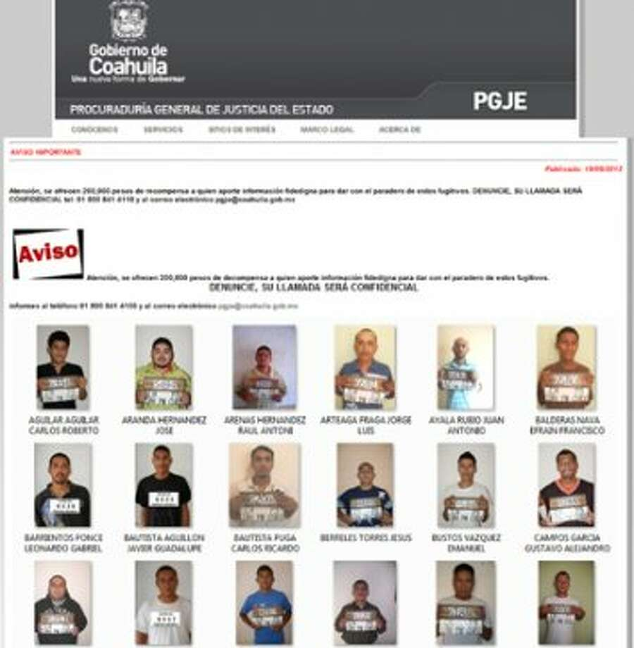 Screen-grab of the official website of the Mexican Attorney General's office of Coahuila on Sept. 19, 2012,  shows portraits of some of the prisoners who escaped from Piedras Negras federal prison in Mexico. (AFP/GettyImages)  (AFP/Getty Images)